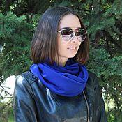 Аксессуары ручной работы. Ярмарка Мастеров - ручная работа Снуд шарф снуд синего цвета из трикотажа / Снуд синий. Handmade.
