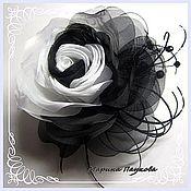 """Субкультуры ручной работы. Ярмарка Мастеров - ручная работа брошь роза  из ткани """"Черное и белое"""". Handmade."""