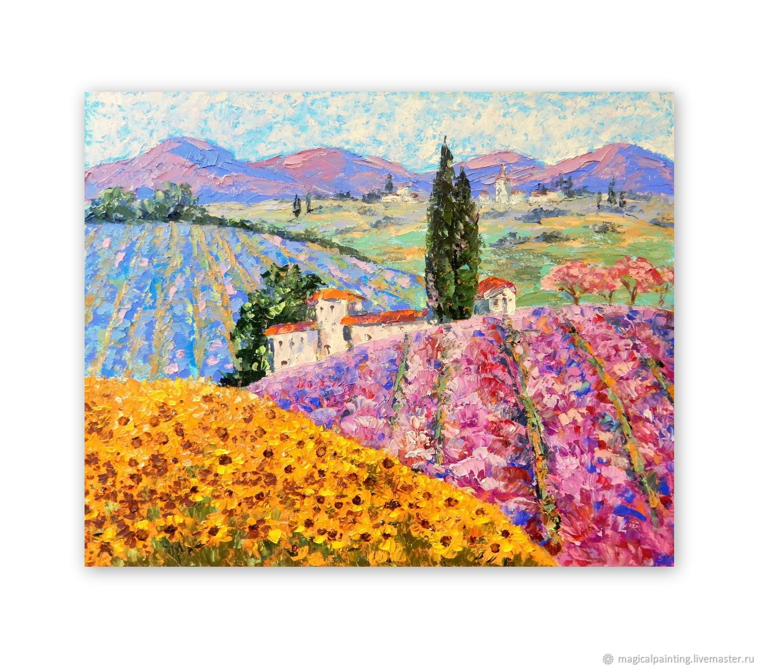 The picture Lavender fields. Tuscany. Mountains Lavender Sunflowers, Pictures, St. Petersburg,  Фото №1