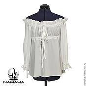 Одежда ручной работы. Ярмарка Мастеров - ручная работа Блуза белая шёлковая,  Блузка под корсет шифоновая. Handmade.