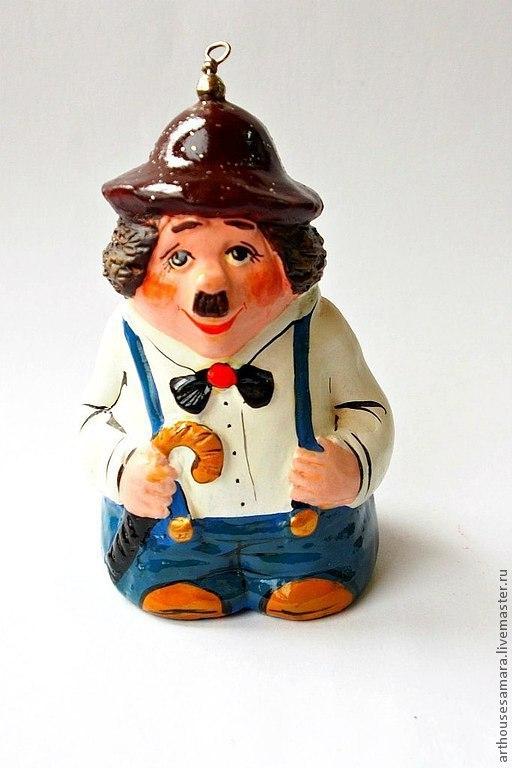 """Колокольчики ручной работы. Ярмарка Мастеров - ручная работа. Купить Керамический колокольчик """"Чаплин"""". Handmade. Коричневый, клоун"""