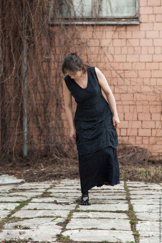 Платья ручной работы. Ярмарка Мастеров - ручная работа. Купить Платье Ленточки. Handmade. Тёмно-синий, льняное платье