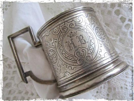 Декоративная посуда ручной работы. Ярмарка Мастеров - ручная работа. Купить Антикварный  серебряный подстаканник 1894 года. Handmade. Серый