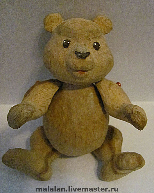 """Миниатюра ручной работы. Ярмарка Мастеров - ручная работа. Купить Деревянная игрушка """"Михасик"""". Handmade. Медвежонок, коричневый"""