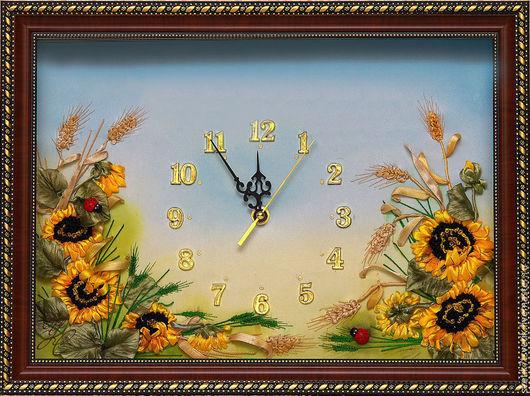часы с подсолнухами, часы интерьерные купить, часы ручной работы, подсолнухи, летний день, подарок для мужчины, христианский подарок, часы с надписью, часы с пожеланием, часы с христианским пожеланием