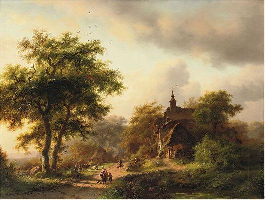 """Пейзаж ручной работы. Ярмарка Мастеров - ручная работа. Купить Картина """"Летний пейзаж """" (малые голландцы). Handmade. Зеленый"""