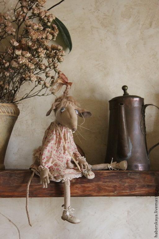 Коллекционные куклы ручной работы. Ярмарка Мастеров - ручная работа. Купить Сонечка крыса текстильная подвижная. Handmade. Разноцветный, текстиль