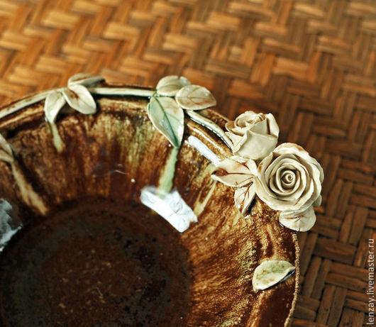 Пиала `Шоколад`. Керамические цветы Елены Зайченко
