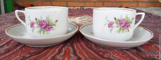 Винтажная посуда. Ярмарка Мастеров - ручная работа. Купить Чайная пара дулево. Handmade. Черный, фарфор, старинный