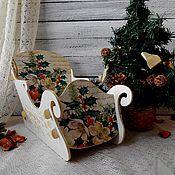 """Подарки к праздникам ручной работы. Ярмарка Мастеров - ручная работа Сани """"Новогодние"""" – конфетница новый год декупаж подарок. Handmade."""