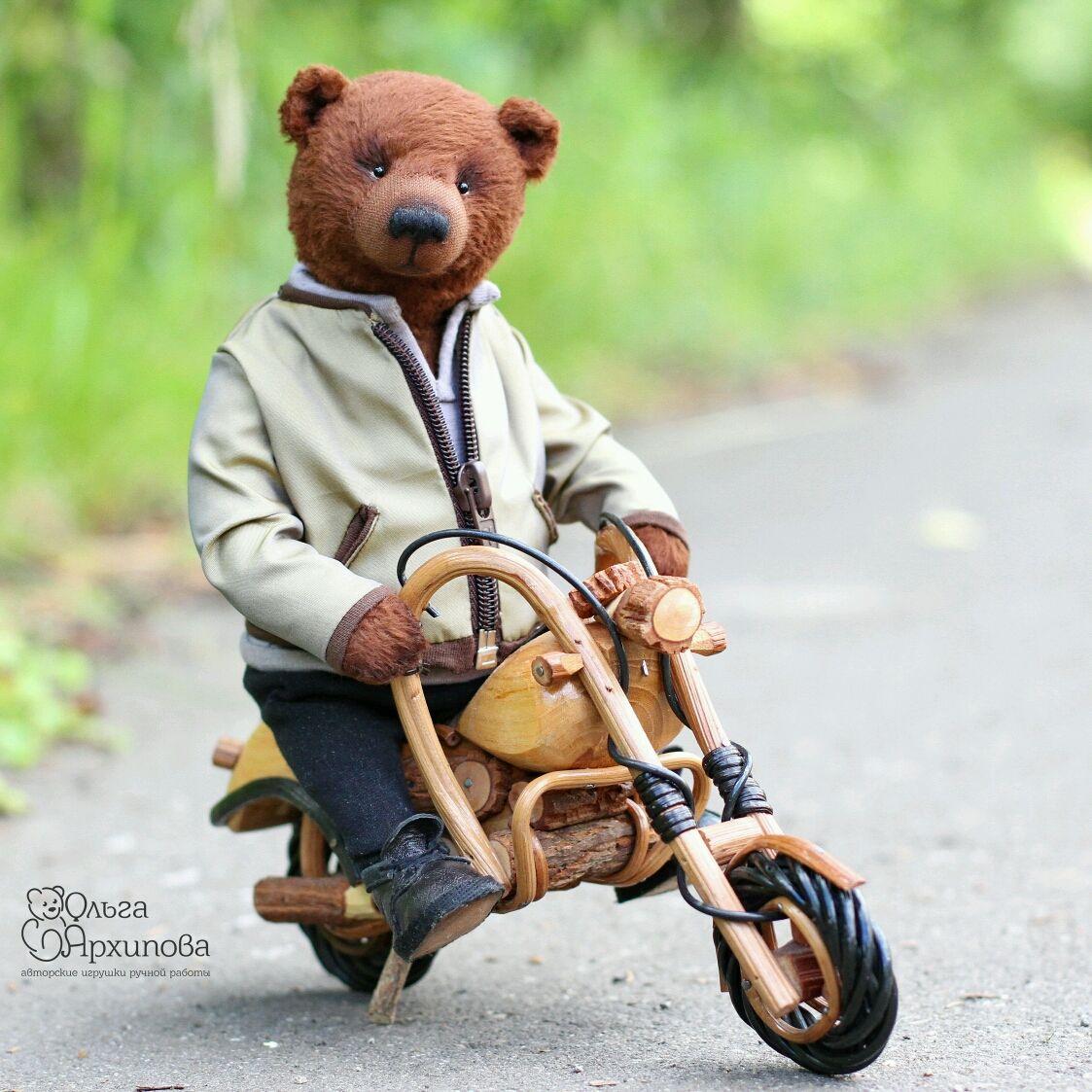 Медведь мотоциклист (мишка тедди в одежде и обуви на мотоцикле), Мишки Тедди, Москва, Фото №1