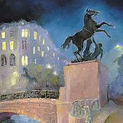 Картины и панно handmade. Livemaster - original item Anichkov bridge, St. Petersburg Print copyright. Handmade.