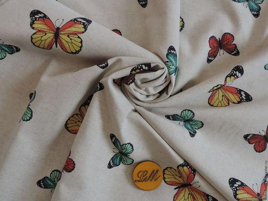 Шитье ручной работы. Ярмарка Мастеров - ручная работа. Купить ткань лен хлопок Бабочки. Handmade. Лён натуральный