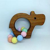 Куклы и игрушки handmade. Livemaster - original item Wooden teething toy with silicone beads Hippo. Handmade.