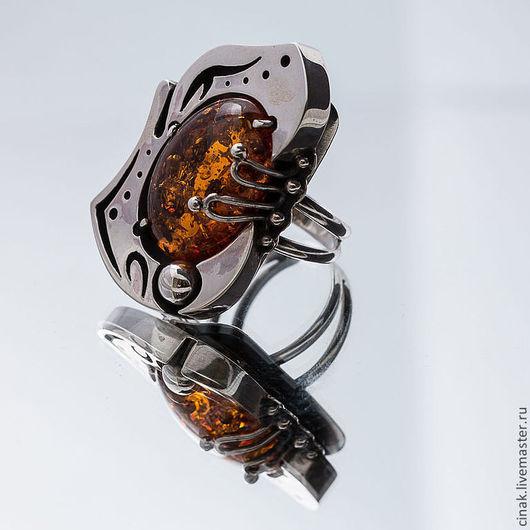 Кольца ручной работы. Ярмарка Мастеров - ручная работа. Купить Серебряное кольцо с янтарем. Handmade. Рыжий, подарок на любой случай