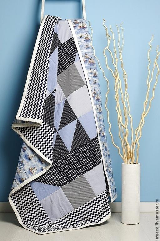 Текстиль, ковры ручной работы. Ярмарка Мастеров - ручная работа. Купить Лоскутное одеяло морское. Handmade. Синий, одеяло на кровать