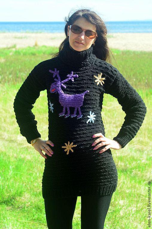 Кофты и свитера ручной работы. Ярмарка Мастеров - ручная работа. Купить Фиолетовый олень Свитер теплый. Handmade. Черный