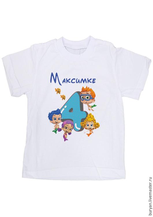 """Одежда для мальчиков, ручной работы. Ярмарка Мастеров - ручная работа. Купить Детская футболка """"Гуппи и пузырьки"""". Handmade. Белый"""