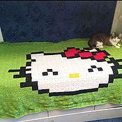 """Для дома и интерьера ручной работы. Ярмарка Мастеров - ручная работа Плед """"Пиксель-арт"""" Hello Kitty"""". Handmade."""