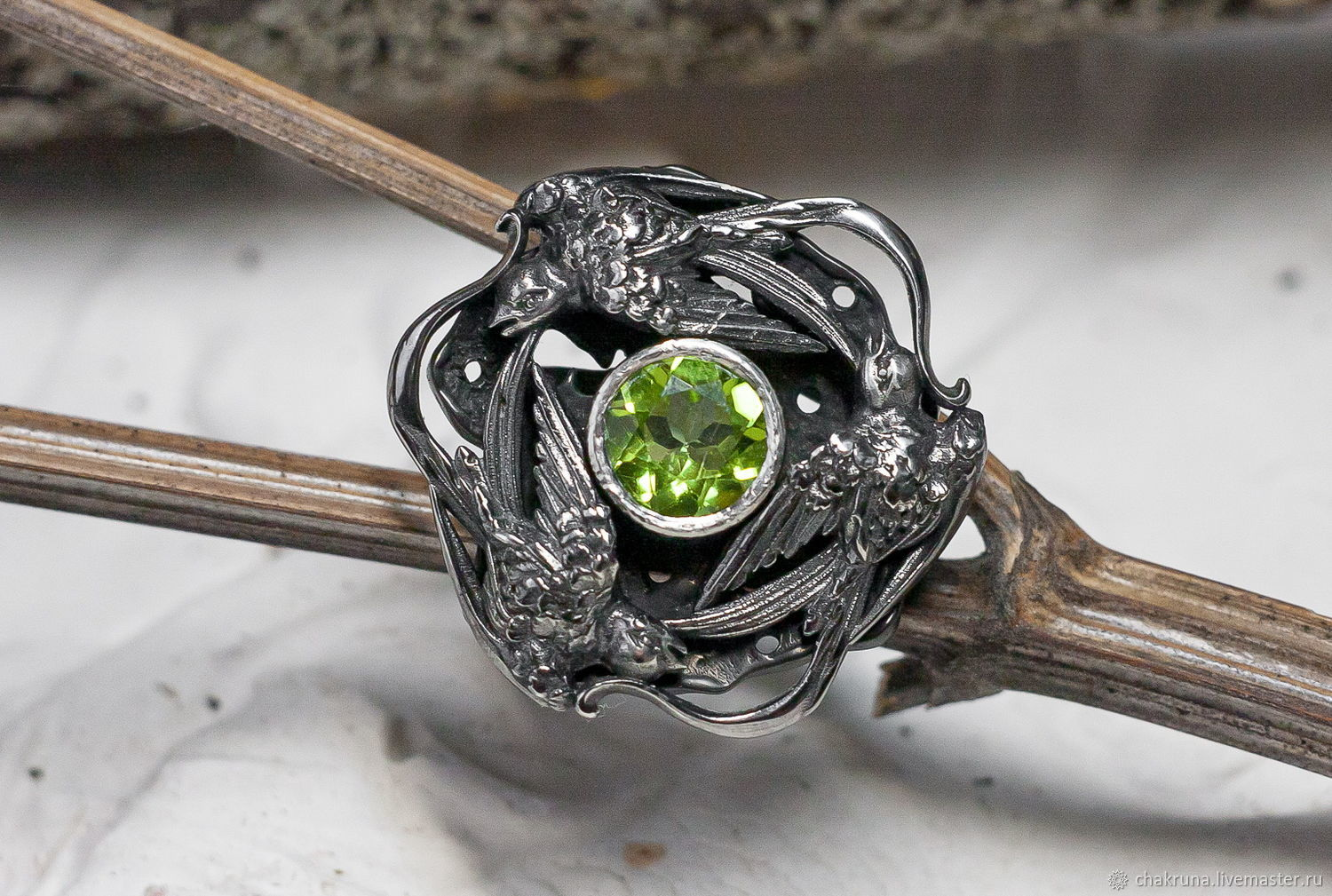 Silver ring 'Swallows' with natural chrysolite, Ring, Moscow,  Фото №1