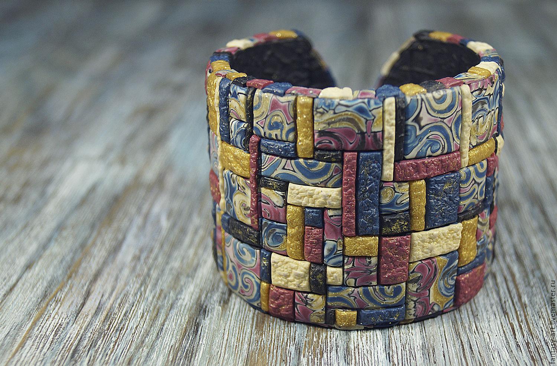 Браслет из полимерной глины - Лоскутное одеяло с завитками
