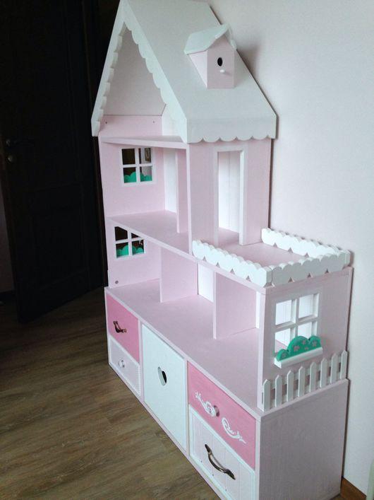 Кукольный дом ручной работы. Ярмарка Мастеров - ручная работа. Купить Кукольный домик стеллаж 6-комнатные апартаменты с террасой. Handmade.