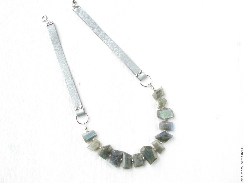 Irina Moro.   Irene Moreau. Necklace, ` Silvery ice`. NECKLACE WITH LABRADORITE. Leather necklace labradorite. Silver necklace - labradorite.Dark gray. Graphite.