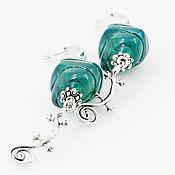 Украшения ручной работы. Ярмарка Мастеров - ручная работа Серьги Каменный цветок. Крупные зеленые с подвеской серебряной ящеркой. Handmade.