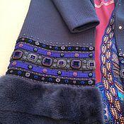 Одежда ручной работы. Ярмарка Мастеров - ручная работа Вязаное пальто с вышивкой и мехом.. Handmade.