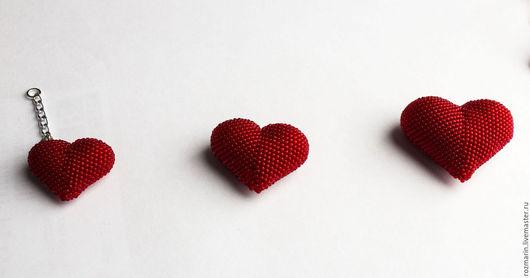 Брелоки ручной работы. Ярмарка Мастеров - ручная работа. Купить Сердце. Handmade. Ярко-красный, украшение из бисера, брелок для ключей