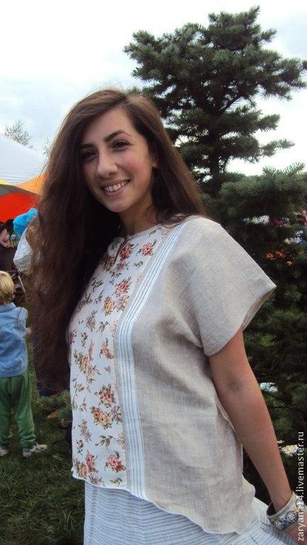 """Блузки ручной работы. Ярмарка Мастеров - ручная работа. Купить Блузка """"цветы и полоски"""". Handmade. Блузка, льняная блузка"""