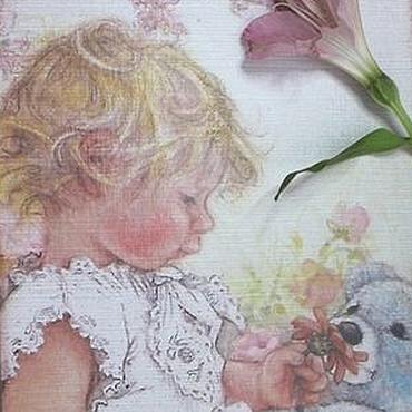 """Для дома и интерьера ручной работы. Ярмарка Мастеров - ручная работа Шкатулка """"Малыш с мишуткой"""". Handmade."""