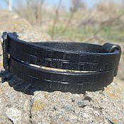 Украшения handmade. Livemaster - original item Leather bracelet black double. Handmade.