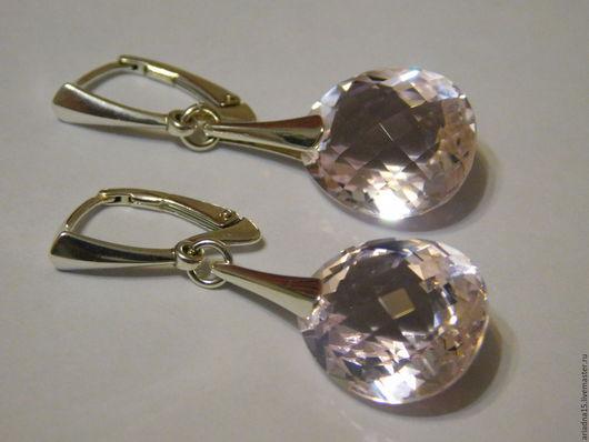 Серьги ручной работы. Ярмарка Мастеров - ручная работа. Купить Серебряные серьги с розовыми топазами. Handmade. Серебряные серьги