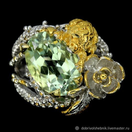 Lotus ring with green amethyst, Rings, Novaya Usman,  Фото №1