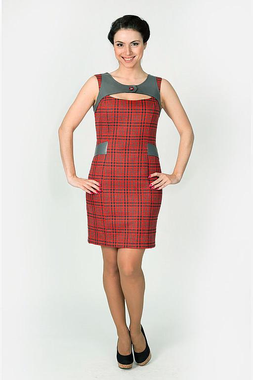 Dresses handmade. Livemaster - handmade. Buy Sundress 001.Sundress, sundress to the office, red and grey square