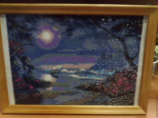 Пейзаж ручной работы. Ярмарка Мастеров - ручная работа. Купить Ночное море. Handmade. Комбинированный, алмазная техника, рамка деревянная