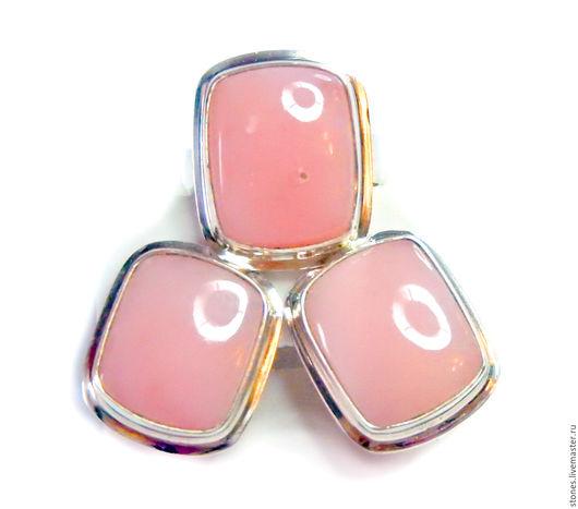 """Кольца ручной работы. Ярмарка Мастеров - ручная работа. Купить Серьги и кольцо """"ЛОТОС"""",розовый опал. Handmade. Розовый, с камнем"""