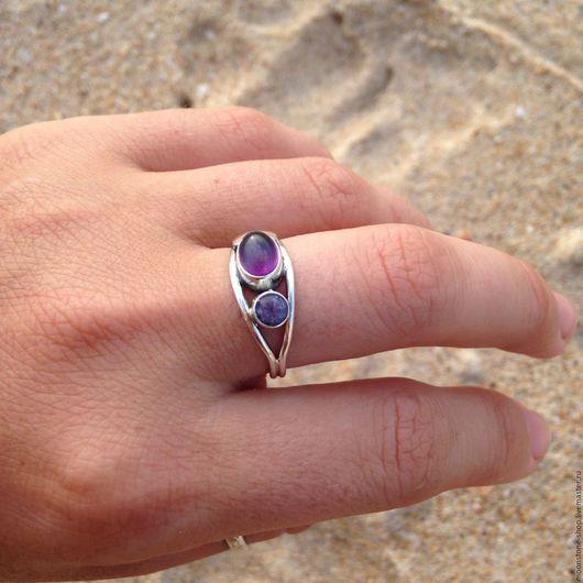 """Кольца ручной работы. Ярмарка Мастеров - ручная работа. Купить Кольцо """"Два аметиста"""". Handmade. Фиолетовый, Серебрянное кольцо"""