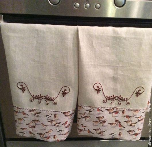 """Кухня ручной работы. Ярмарка Мастеров - ручная работа. Купить Полотенце """" Лесная трель"""". Handmade. Серый, льняное полотенце"""