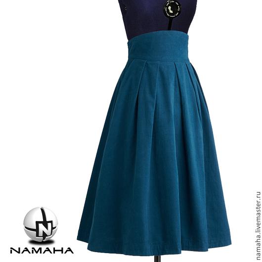Юбки ручной работы. Ярмарка Мастеров - ручная работа. Купить Юбка бархатная в складку, юбка синяя, юбка миди бархатная, юбка. Handmade.