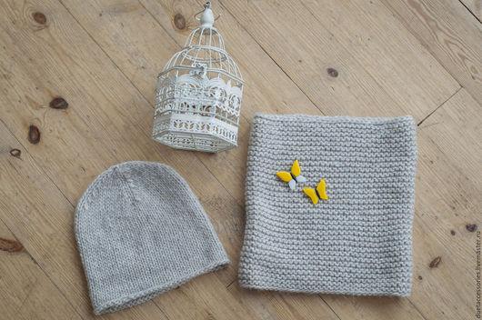 Мягкая шапка-бини и снуд из шерсти и альпаки