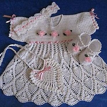 Работы для детей, ручной работы. Ярмарка Мастеров - ручная работа Платье вязаное крючком для девочки Принцесса, крестильное платье. Handmade.