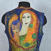 """Одежда ручной работы. Ярмарка Мастеров - ручная работа жилет валяный """"Девушка с котиком в стиле Модильяни"""". Handmade."""