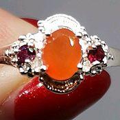 Украшения handmade. Livemaster - original item Silver ring with Sunny carnelian, rhodolite. Handmade.