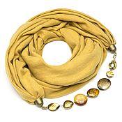 Аксессуары ручной работы. Ярмарка Мастеров - ручная работа Кашемировый шарф-ожерелье (однотонный, желтый). Handmade.
