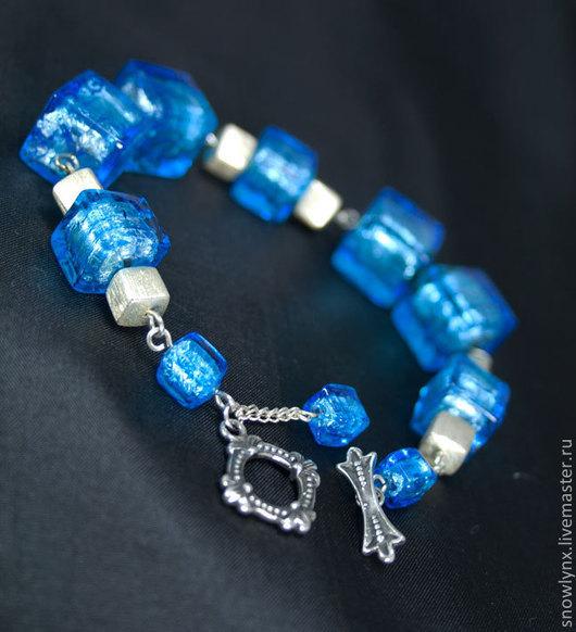 Браслет муранское стекло и серебро, серебряный браслет, браслет из стекла, женский браслет, вечернее украшение, единственный экземпляр