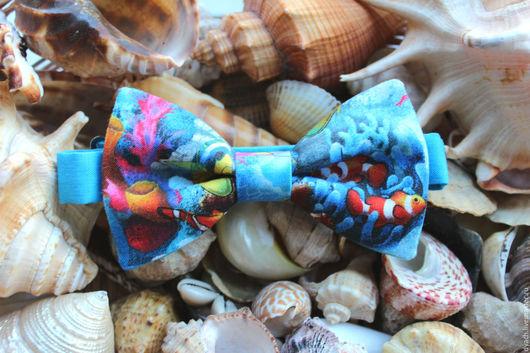Галстуки, бабочки ручной работы. Ярмарка Мастеров - ручная работа. Купить Галстук-бабочка Коралловый риф. Handmade. Синий, рисунок