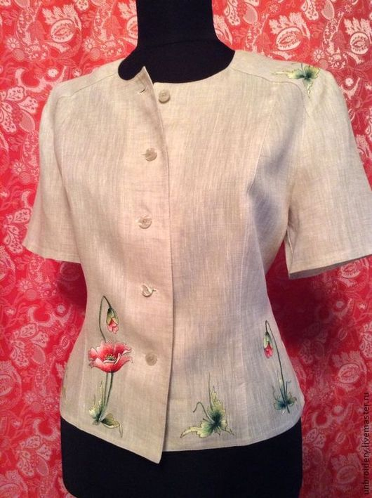 """Блузки ручной работы. Ярмарка Мастеров - ручная работа. Купить Блуза - жакет """"Маки"""". Handmade. Серый, блуза, лен, шелк"""