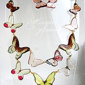 """Украшения ручной работы. Ярмарка Мастеров - ручная работа Колье """"Прозрачный сад бабочек"""". Handmade."""
